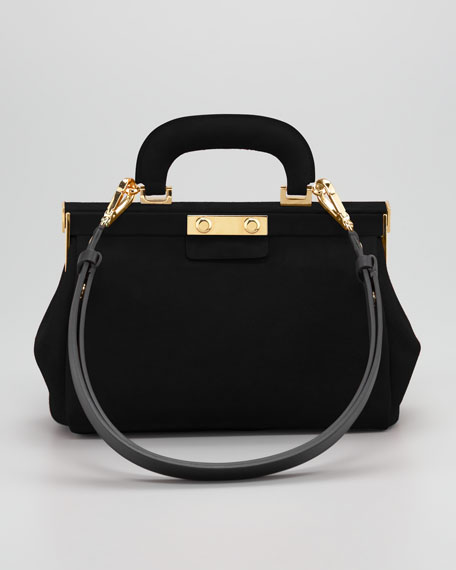 Suede Top-Handle Satchel Bag