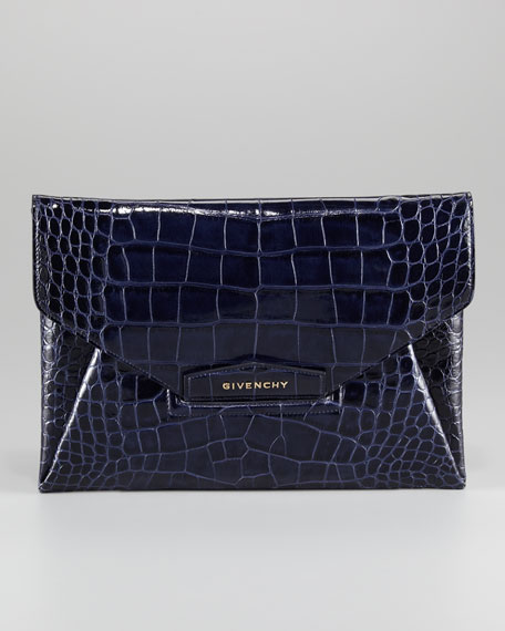 Antigona Crocodile-Embossed Envelope Clutch Bag