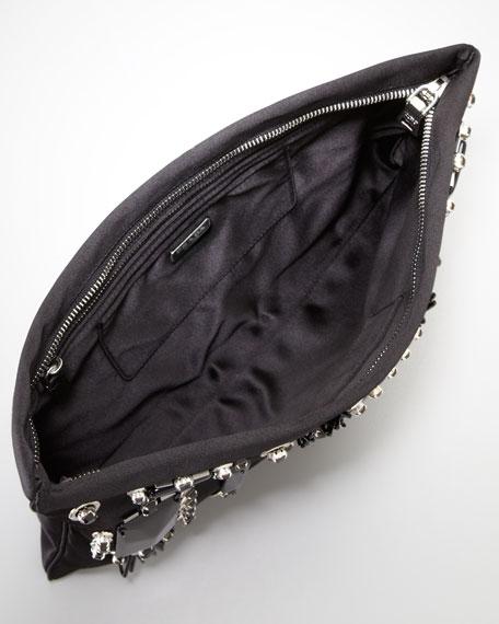 84130df4977daf Prada Raso Ricamo Flat Clutch Bag, Black