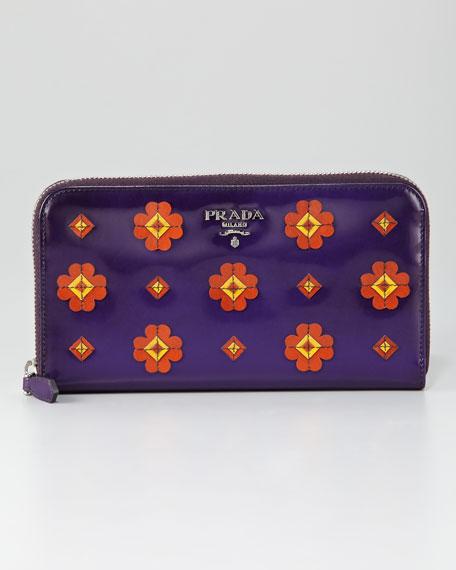 Spazzolato Fiori Zip Wallet