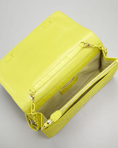 Chain Shoulder-Strap Front-Flap Clutch Bag