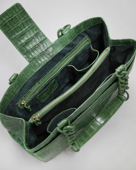 Crocodile Chain-Strap Tote Bag, Shiny Green