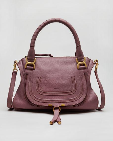 Pebbled Leather Marcie Satchel Bag