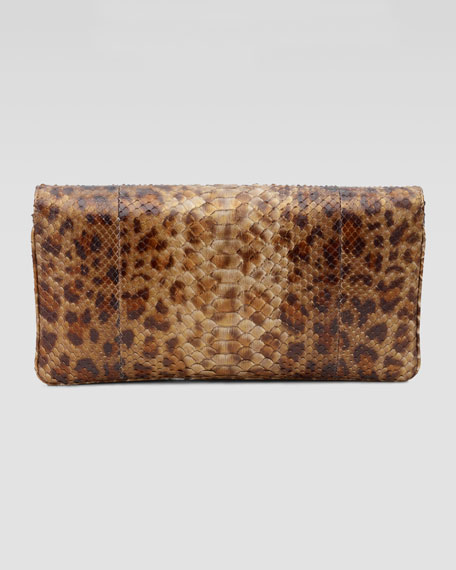 Siri Leopard-Print Python Clutch Bag