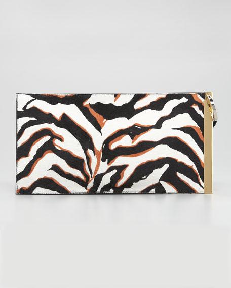 BG 111th Anniversary Zebra-Print Calf Hair Deco Clutch Bag