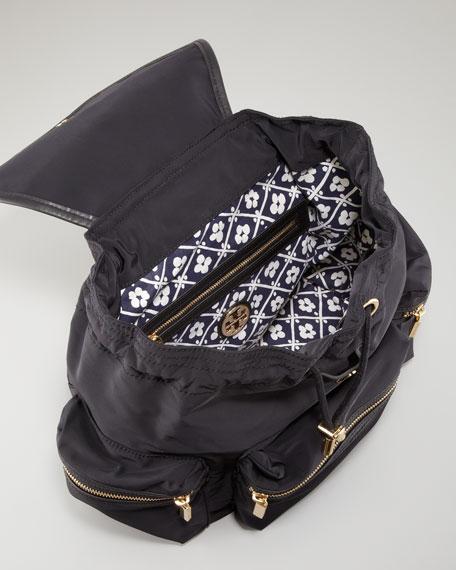Stacked Nylon Logo Backpack, Black