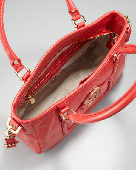 Amanda Crinkled Mini Satchel Bag, Lobster