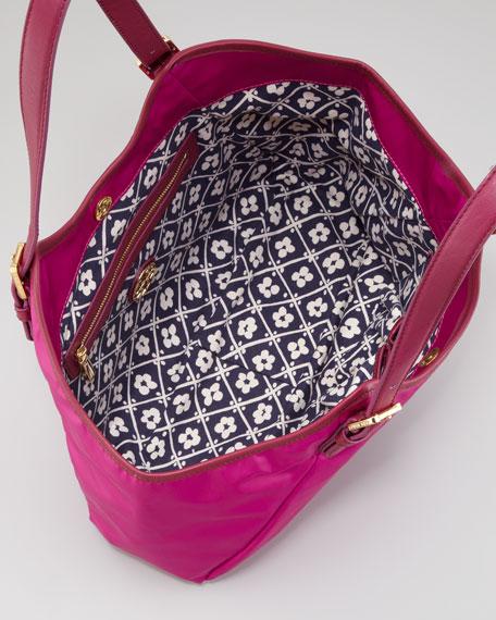 Logo Tech-Fabric Slouch Hobo Bag, Party Fuchsia