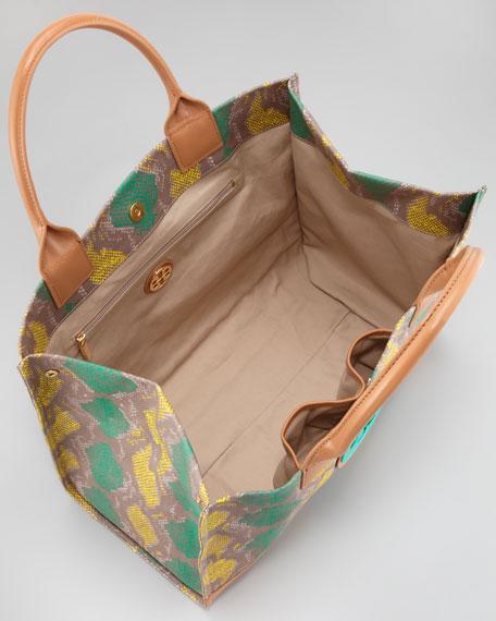 Ella Coated Snake-Print Tote Bag, Sea Urchin