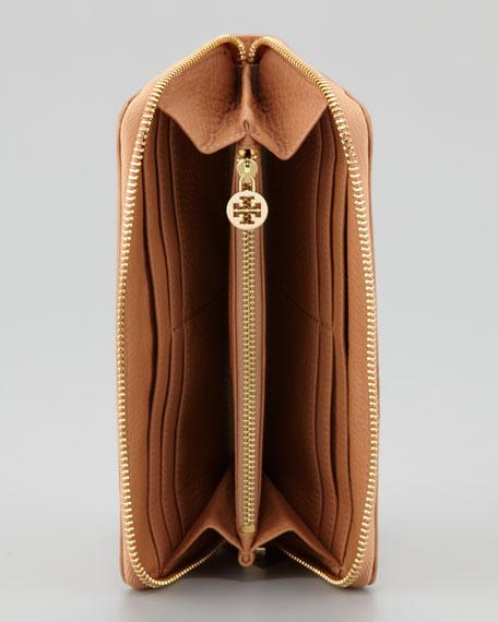 Amanda Continental Zip Wallet, Aged Vachetta