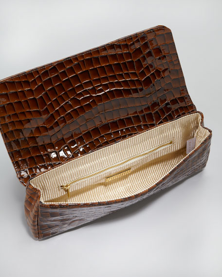 Caroline Shadow-Patent Clutch Bag, Brown