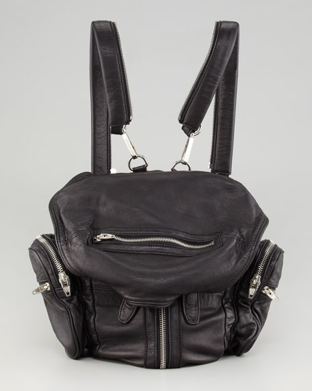 Marti Zippered Backpack, Black