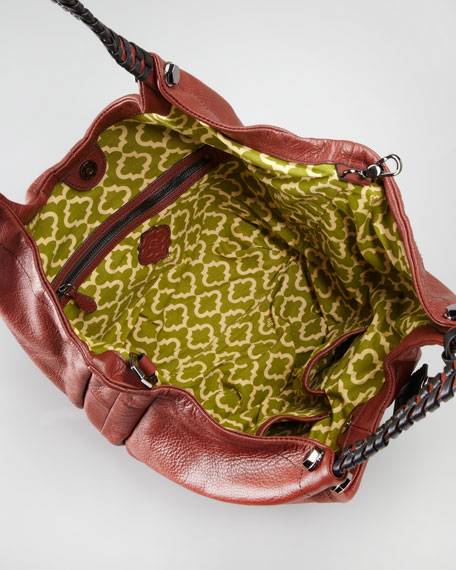 Woven-Handle Hobo Bag