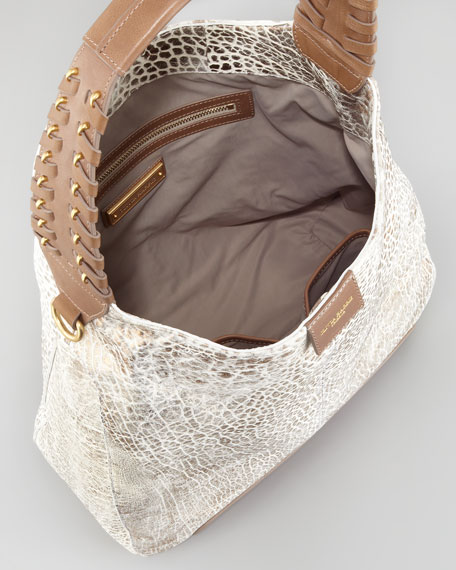 Gahan Metallic Hobo Bag, White/Spice