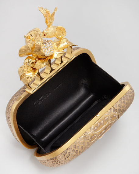 Apple & Hummingbird Knuckle-Duster Python Clutch Bag