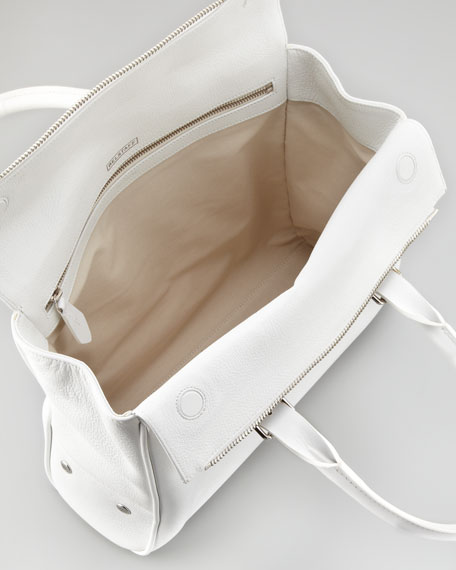 Dorchester 36 Leather Satchel Bag, Optic White