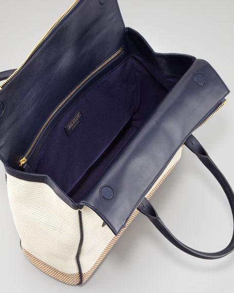Dorchester 36 Woven Leather Satchel Bag, Bone/Navy
