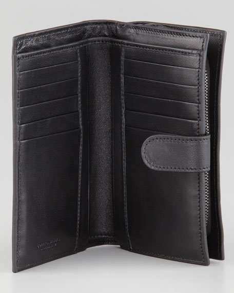 Woven Continental Fold Wallet, Black