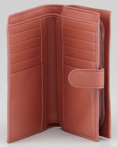 Woven Continental Fold Wallet, Coral