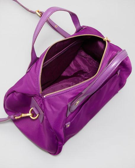 Preppy Nylon Taryn Satchel Bag, Violet