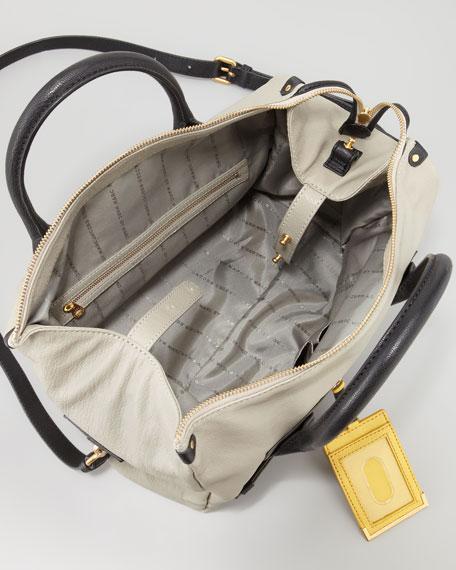 Preppy Pearl Colorblock Leather Satchel Bag, Silver Fox