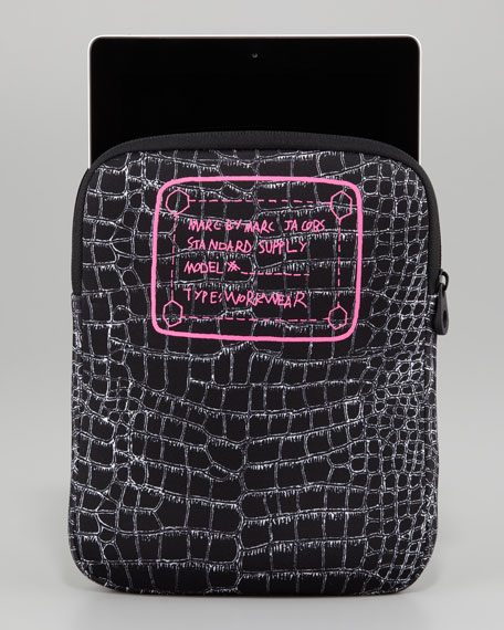Trompe l'Oeil Croc-Print Tablet Sleeve, Black