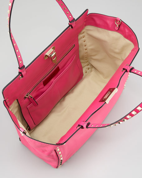 Rockstud Medium Tote Bag, Fuchsia
