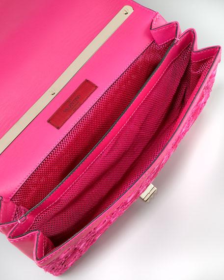 Floral Lace Cutout Shoulder Bag, Pop Fuchsia