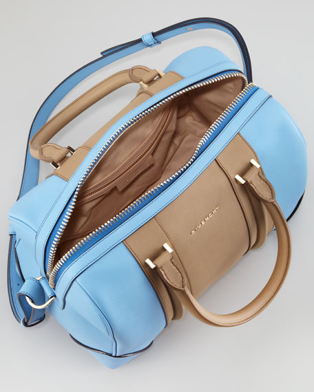 Lucrezia Colorblock Medium Satchel Bag, Blue/Brown