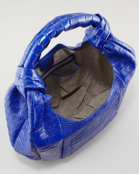Crocodile Large Hobo Bag, Cobalt Matte