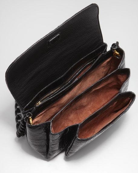 Crocodile Compartmentalized Boxy-Flap Crossbody Bag, Black