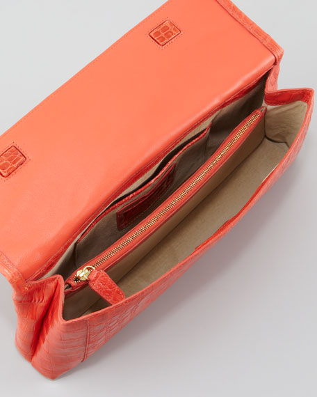 Crocodile Flap Clutch Bag, Orange Shiny