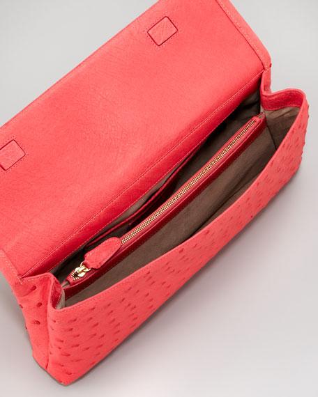 Ostrich Clutch Bag, Pink