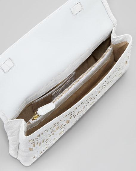 Crocodile Fold-Over Flower Clutch Bag, White