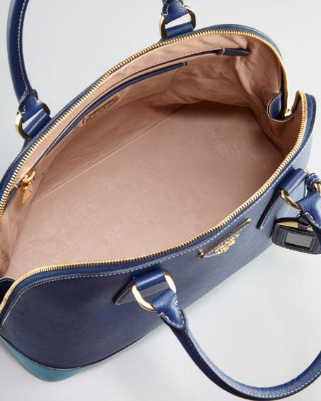 Saffiano Bicolor Dome Bag, Blue/Turquoise