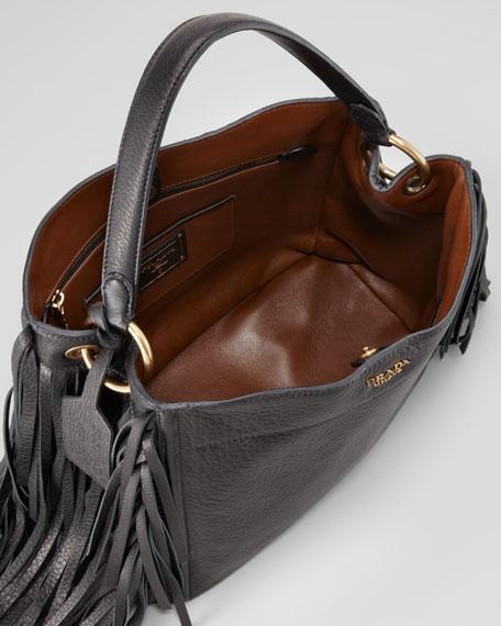 Cervo Fringe Hobo Bag, Nero