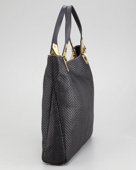Natasha Black Woven Calfskin Tote Bag