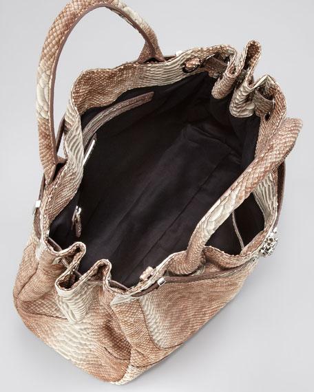 Zoe Deux Snake-Embossed Tote Bag, Ash