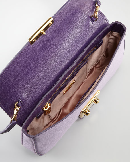 Madras Bicolor Shoulder Bag, Glycine/Viola