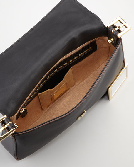 Leather Baguette with Interchangeable Straps, Black