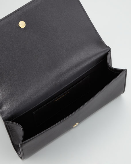Belle De Jour Leather Clutch Bag, Black