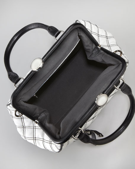 Mini Stam Satchel, White/Black