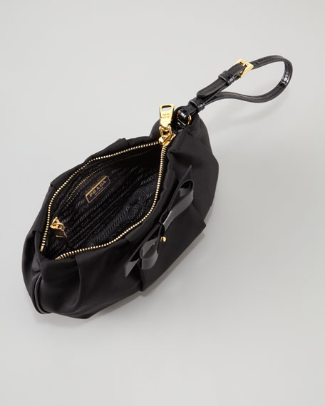 Tessuto Bow Wristlet Bag, Black