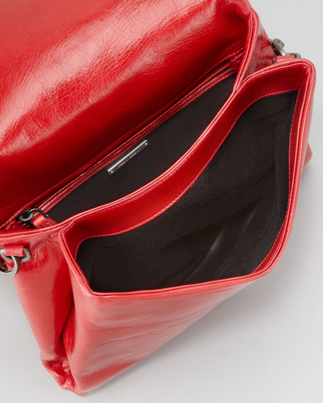 Vitello Chain Shoulder Bag, Red