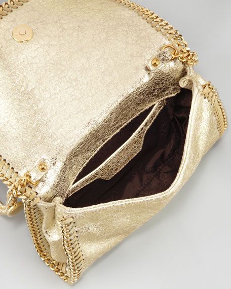 Crackled Metallic Crossbody Bag, Platinum