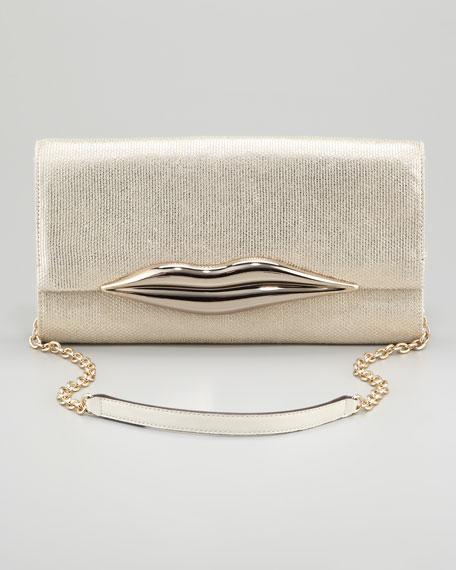 Carolina Metallic Canvas Lips Clutch Bag, Gold