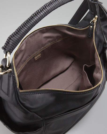 Franco Leather Hobo Bag, Black