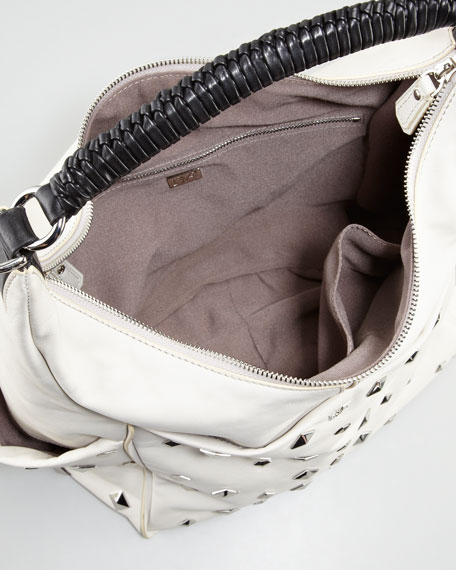 Franco Studded Hobo Bag, Open Off White