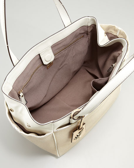On-the-Go Metallic Tote Bag, Gold