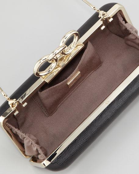 Sutra Reptile-Print Chain-Top Clutch Bag
